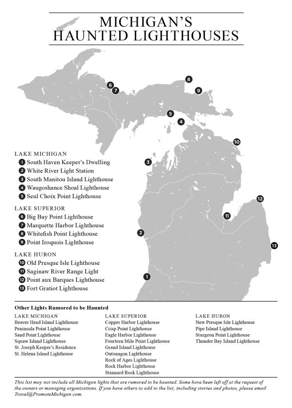 michigan's haunted lighthouses map